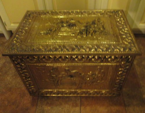 Brass Covered Wood Trunk Chest Box Vintage Spanish Scene