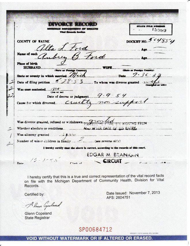 My Grandmother\u0027s divorce certificate (1954) Marriage Records