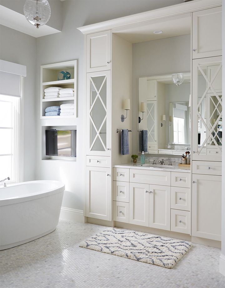 Images Photos All white bathroom with built in storage