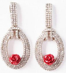 Hand-crafted brass metal danglers finely studded with cubic zirconia (American diamond) stones.  Size: 55mm x 23mm