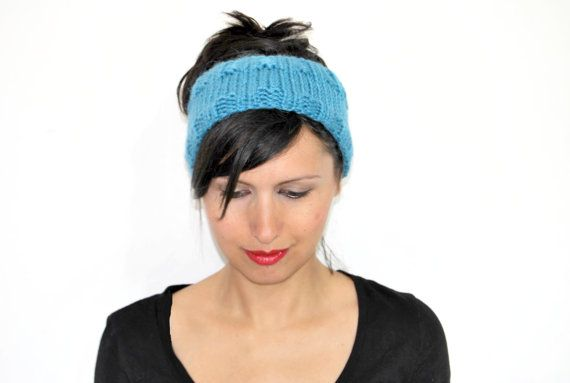 Handknitted headband alpaca turquoise ear warmer by TheWoollyHill, €15.00
