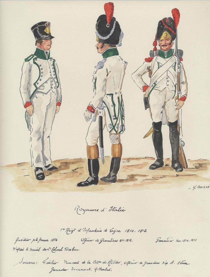 Italy; 1st Line Infantry Fusilier, Petite Tenue, 1814, Grenadier Officer 1810-12 & Grenadier 1810-11