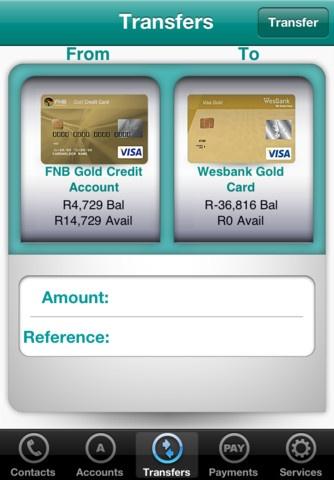 FNB App Transfer Screen