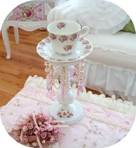 Shabby Teacup Candle Holder !!!!!!-Tealightcandle holder, teacup, tea cup light, candle holder, prisms, crystal romantic, shabby chic, mosaic, home decor, furniture, victorian