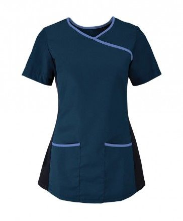 AX NF43 Women's stretch scrub top Navy/Metro