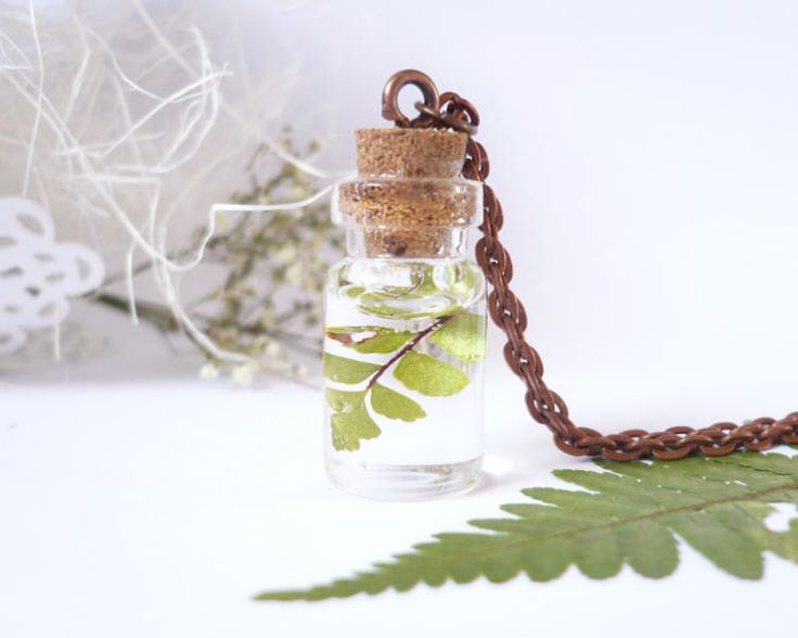 Fern Necklace - Real Leaf Necklace - Bottle Necklace - Resin Jewelry - Pressed Flower Necklaces - Terrarium Necklace - Vial Necklace by FlowerPoems on Etsy