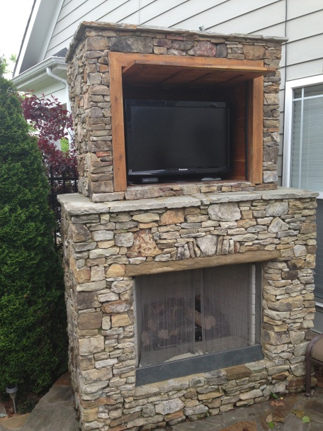 Outdoor fireplace with tv eden farms outdoor ideas - Outdoor fireplace with tv ...