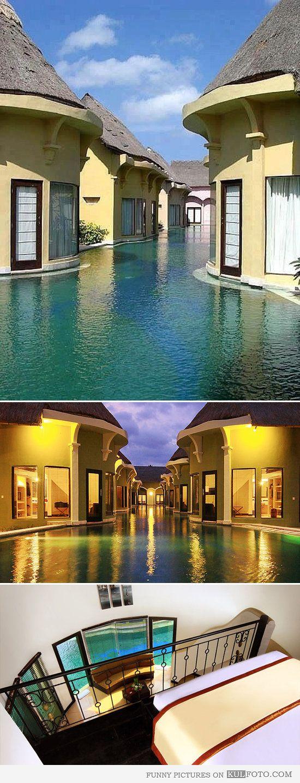Swim resort Villa Seminyak, Bali - Amazing resort with lagoon villas that have exits right into pool in Bali.
