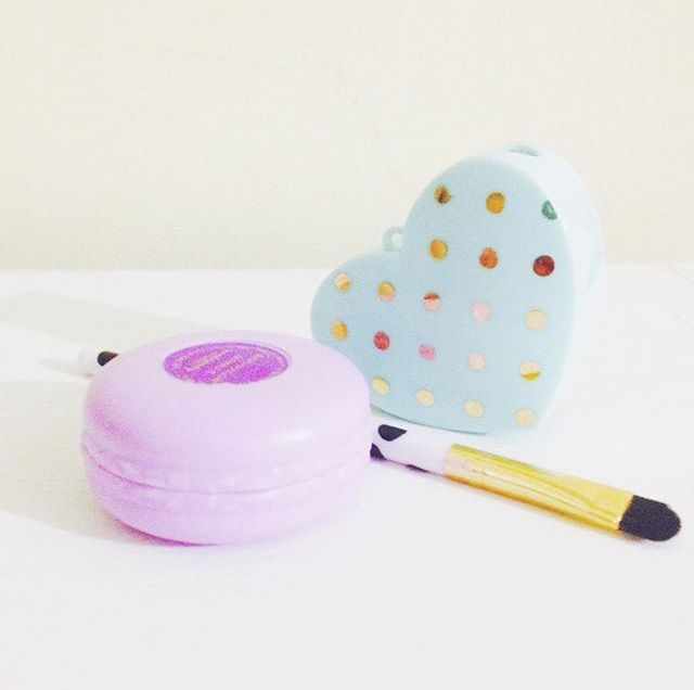 i <3 forever21. marshmallow lip balm, cute, polka-dotted make up brushes, and makeup sharpener.
