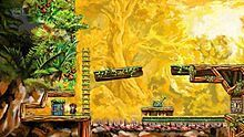 A computer-generated image of the release copy of Braid as a platform game, showing the main character, a door, a ladder, a set of spikes, a lever, and one of the monsters. The art appears to be painted elements, consisting of wooden beams adjoining rock faces, with foliage around, against a faded yellow-green background showing more of a forest.