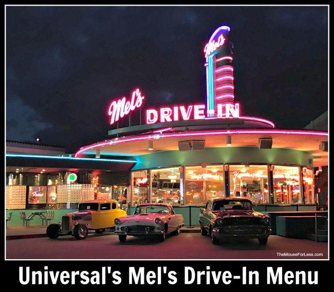 Mel S Drive In Menu Universal Studios Florida At Universal Orlando Universal Orlando Universal Studios Florida Universal Orlando Resort