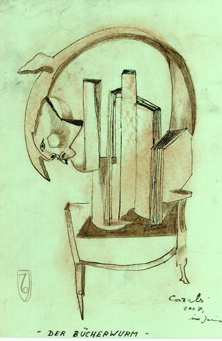 """""""Der Bücherwurm"""", Zeichnung, 2007, Mischtechnik auf Papier, 22 x 32 cm, Anfragen an: Werkevewaltung Cazals, Britta Kremke, management@carlocazals.com, Tel. 038722-227-14"""
