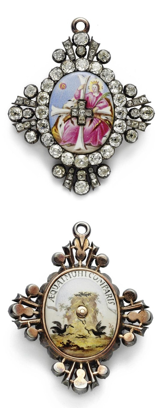 "A RARE RUSSIAN GOLD, ENAMEL AND DIAMOND GRAND CROSS BADGE OF THE IMPERIAL ORDER OF ST. CATHERINE, CIRCA 1800 the front with the enameled image of St. Catherine, the letters C.B.E. above her head, for Holy Martyr Catherine, the border and arms of the cross set with diamonds, the reverse enameled with an eagle's nest and  inscribed in latin, ""Share the Duties of Society."" With an associated fitted leather case width 2 in. 5 cm"