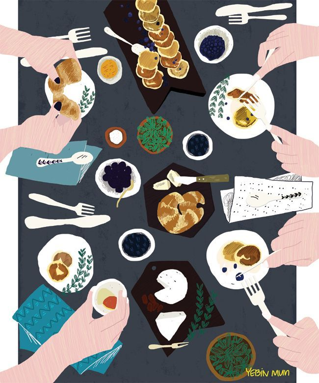 table,food illustration,party,dinner,colors,illustrator,decoration,food art