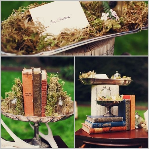 woodsy wedding decor ... what goes together better than old books & moss?
