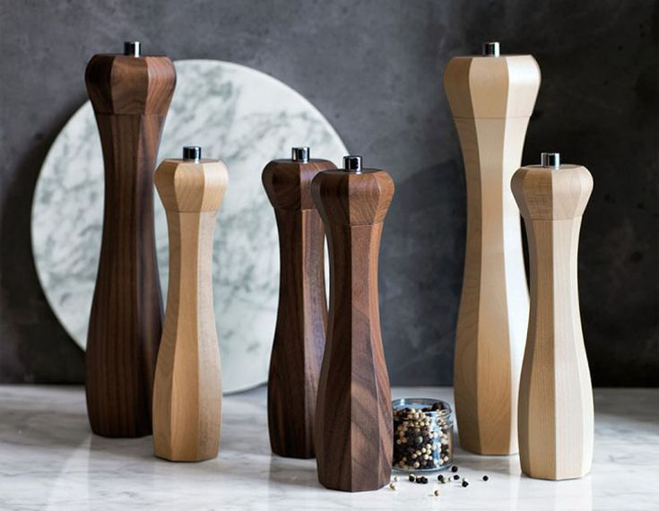 Essential Kitchen Tools - Salt And Pepper Mills | These wooden mills put a modern twist on the traditional pepper grinders by losing the circular shape and instead going for an octagonal design.