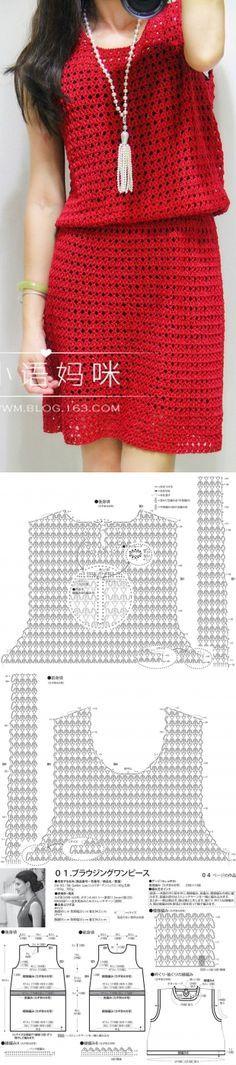 Vestido em crochê, com gráfico