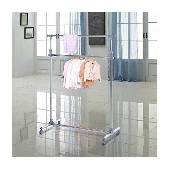 Homcom Heavy Duty Clothes Hanger Garment Rail Hanging Display Stand Rack w/ Wheels Adjustable - 850-011 - Hardware