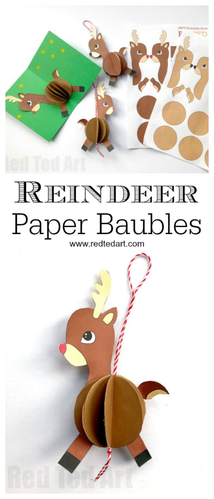 Paper Reindeer Ornament. How cute are these easy Reindeer Baubles? Super fun and easy to make. Choose from different colours.. and turn them into Paper Ornaments or Pop Up Christmas Cards! Adorable. #Reindeer #Christmas #Reindeerornament #ornament #diy #printables #baubles