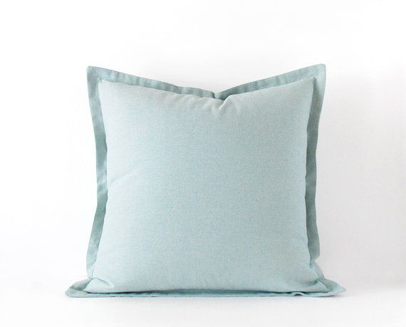Light blue decorative pillow cover in 16x16 inches - 18x18 inches + more sizes - plain cushion cover with a flange - lumbar pillow case