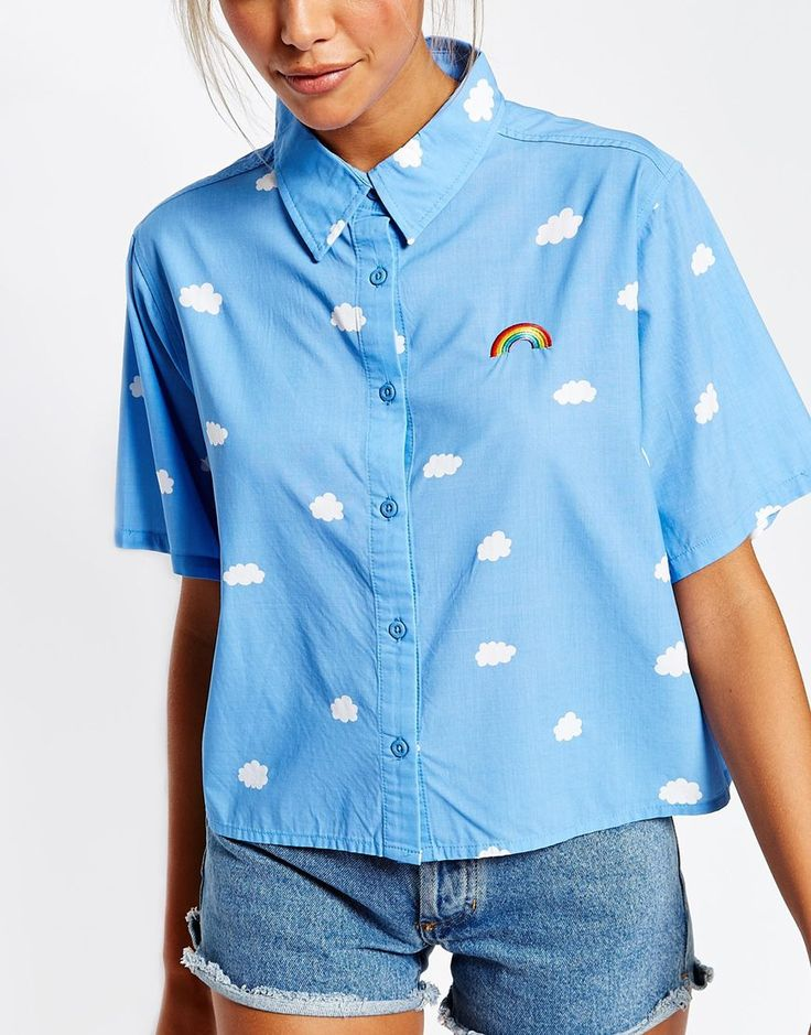 Image 3 of Lazy Oaf Short Sleeve Shirt In Rainbow Clouds Print