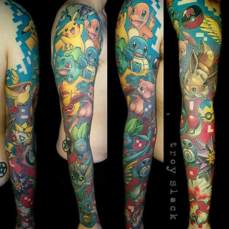 Pokemon full sleeve. Beautiful tattoos!   Tattoo
