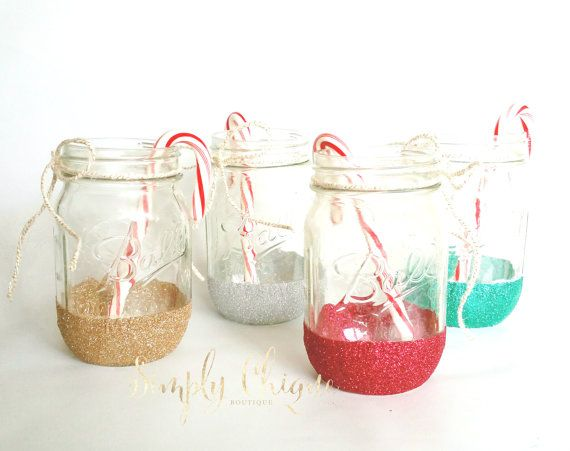 Christmas Sparkle Mason Jars  Distressed by simplychiqueboutique