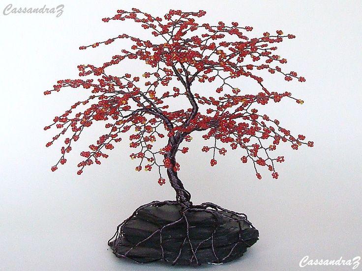 Rode kersenbloesem Beaded Bonsai draad boom van CassandraZ op Etsy