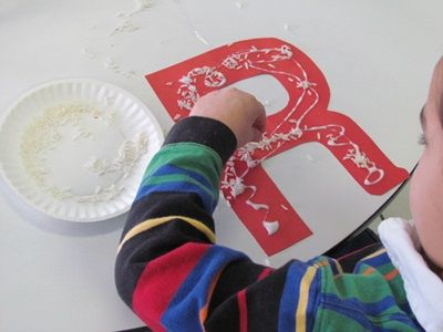 art activity letter r pintrest | the letter r by gluing rice on the red letter