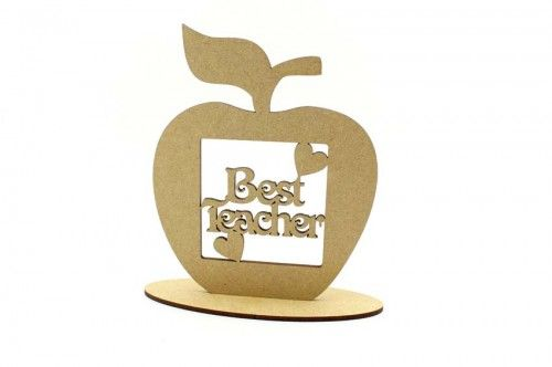Best Teacher apple on plinth.  Teacher and Teaching assistant gifts ready to paint. http://www.lornajayne.co.uk/