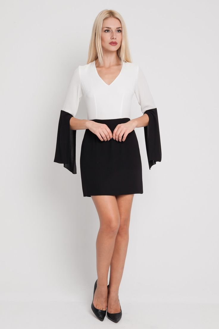DRESS BLK/WHITE