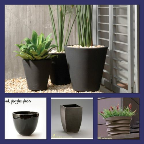 Lightweight fiberglass planters offer the look of clay or stone pots without the need for back-breaking heavy lifting.