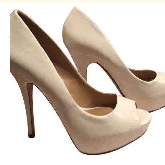 White ALDO heels Aldo white - peep toes.  4 inch heel open toed ALDO Shoes Heels