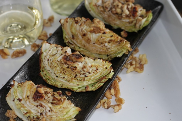 Roasted Cabbage Wedges with Crunchy Walnuts - 5-Ingredient Side dish you will LOVE!!!