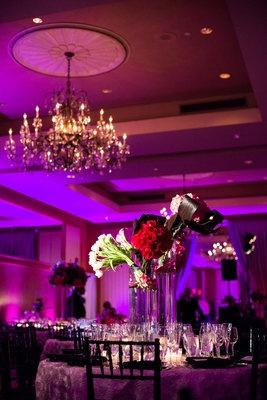 Pink lighting = major drama. Ballroom wedding. (Photo by Michelle Lindsay)