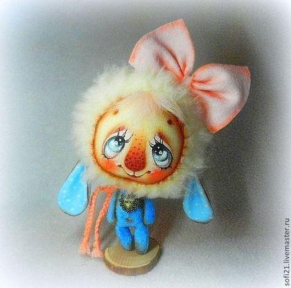 Овечечка Неженка) - голубой,овечка,овечка игрушка,кукла,авторская игрушка