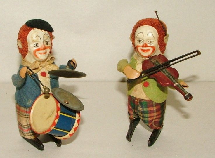 """! 1930'S SCHUCO SOLISTO WIND UP CLOWN BAND 4 1/2"""" TALL #DOESNOTAPPLY"""
