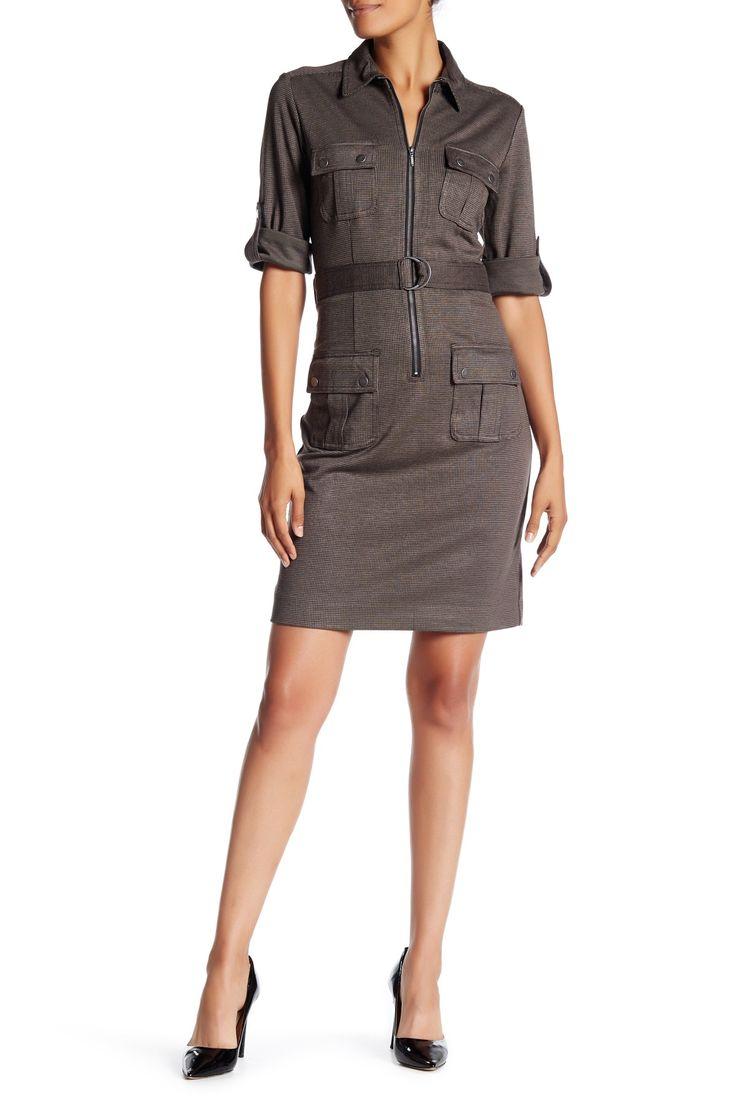 Micro Houndstooth Shirt Dress