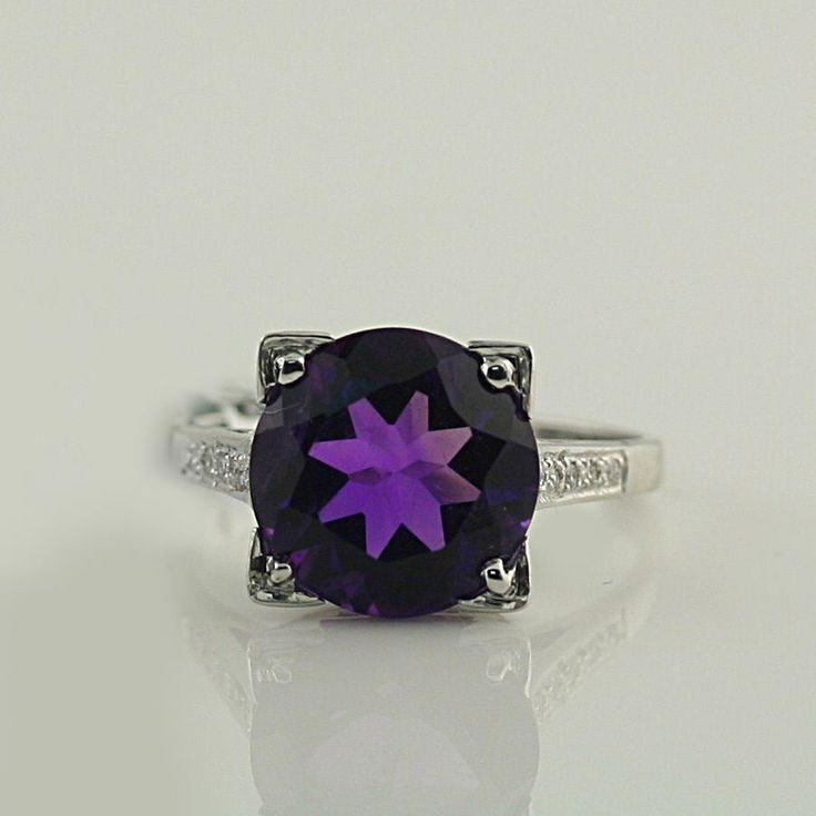 Natural African Amethyst Diamond Ring 14K White Gold 3.40 cwt #Custommade #SolitairewithAccents #Anniversary