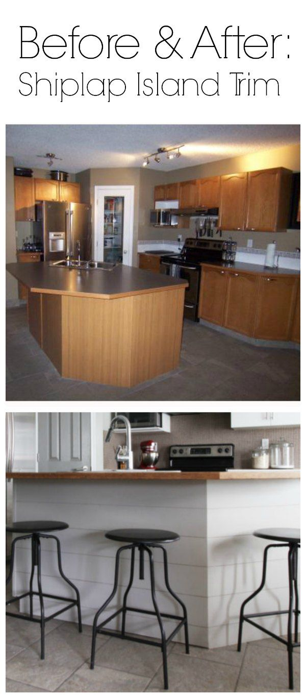diy shiplap island trim before and after brooklyn berry designs home kitchens diy kitchen. Black Bedroom Furniture Sets. Home Design Ideas