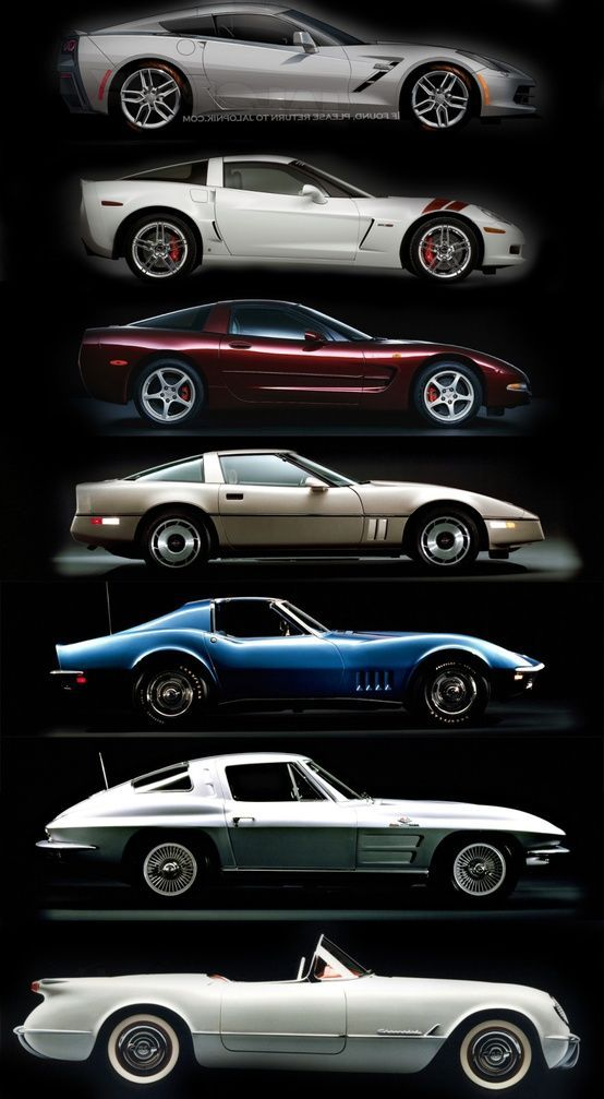 evolution of corvettes http cars vintage pinterest voitures. Black Bedroom Furniture Sets. Home Design Ideas