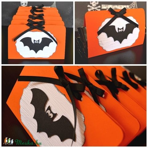 Halloween 6 db édesség tartó doboz denevér fekete narancs, Baba-mama-gyerek, Dekoráció, Meska