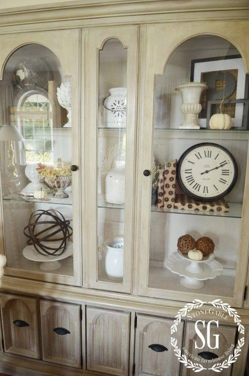 5 easy tricks to style a hutch or bookcase... Hutch-Living Room-Styled- windows-stonegableblog.com