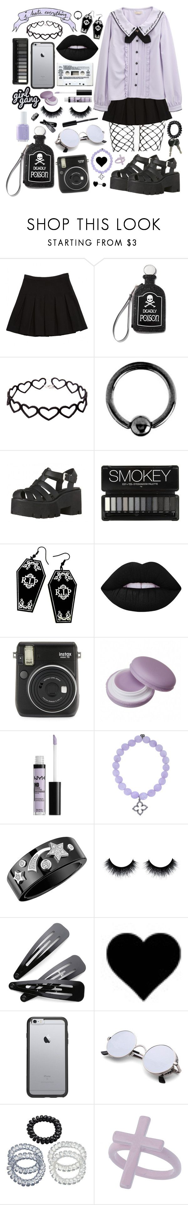 """""""Purple pastel goth"""" by pastelprincess152 ❤ liked on Polyvore featuring Diane Von Furstenberg, Current Mood, Urbiana, Curiology, Lime Crime, Fuji, Essie, NYX, Sydney Evan and Chanel"""