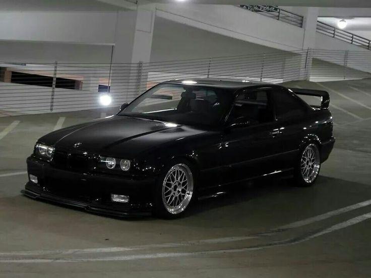 BMW E36 M3 black deep dish slammed