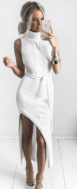 White Knit Maxi Dress                                                                             Source