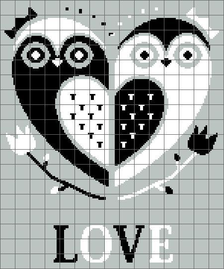Owl Love Graphghan Graph - Crochet - Cross Stitch - Pattern - em: etsy.com
