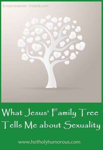 What Jesus' Family Tree Tells Me about Sexuality: http://hotholyhumorous.com/2014/08/what-jesus-family-tree-tells-me-about-sexuality/ The women in Jesus' bloodline had personal stories about sexual intimacy. What can we learn from them?