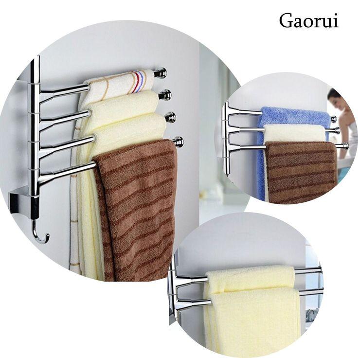 Stainless Steel Wall Mounted Bathroom Towel Rail Holder Storage Rack Shelf Bar