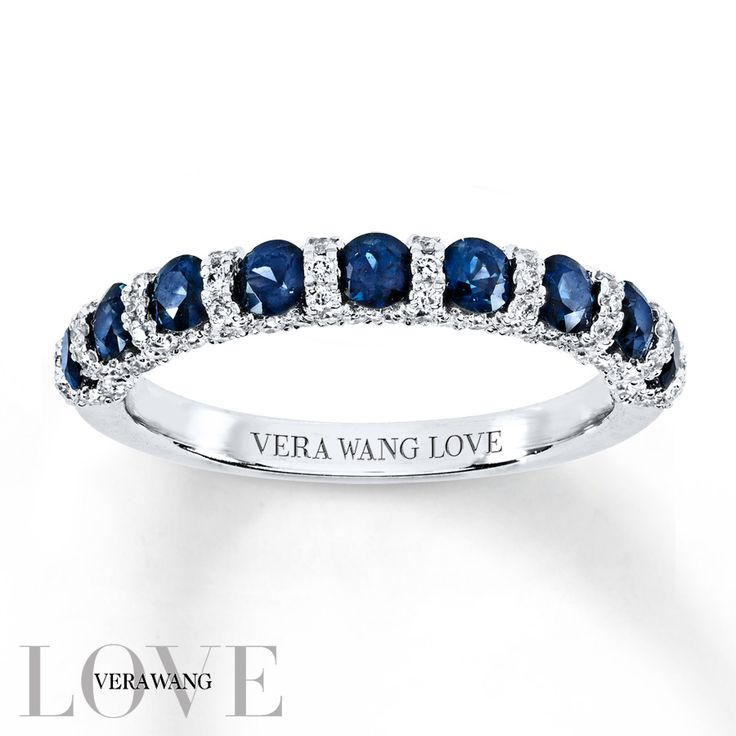 On your wedding day, honor the woman you love with a ring as significant in meaning as it is beautiful. From the Vera Wang LOVE Collection, this 14K white gold wedding band features brilliant natural blue sapphires, the traditional gemstone of faithfulness and unending love, alternating with glittering ribbons of shimmering diamonds. Lovely worn by itself, this ring is stunning paired with her Vera Wang diamond engagement ring. An amazing gift of love and commitment, this ring captivates…